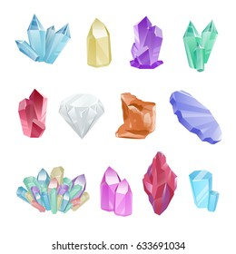 Vector set of colored minerals, crystals, gems and diamonds. Magic crystals of different forms on white background. Isolated bright shining jewels of pink, blue and green colors. Vector blue crystal.