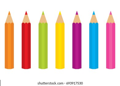 Vector set of colored pencils. Set included orange, red, green, yellow, purple, blue and pink colors. Colored pencils vector illustration