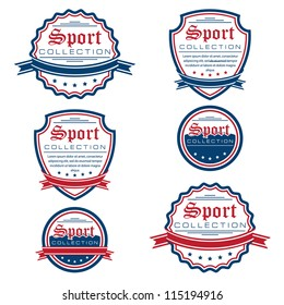 Vector set of colored sport emblems. Logo badges and labels.  Grouped for easy editing. On white background.