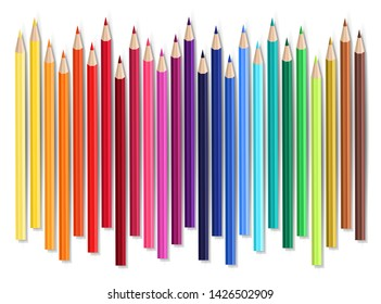 Vector set of colored wooden pencils. Rainbow crayons isolated on white background