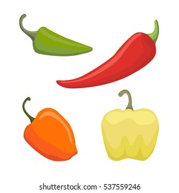 Vector Set of Colored Yellow Green Orange and Red Sweet Bulgarian Bell Peppers, Paprika Isolated