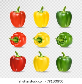 Vector Set of Colored Yellow Green and Red Sweet Bulgarian Bell Peppers, Paprika Isolated on Transparent Background. Realistic vector. 3D