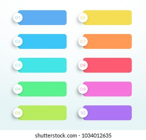 Vector Set Of Colorful 3d Text Banners Number 1 to 10