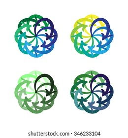Vector set colorful arrows circle diagram on white background