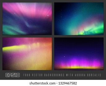 Vector set of colorful backgrounds with beautiful starry sky and Northern lights. Space illustration with aurora borealis for design