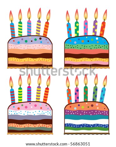 Vector Set Of Colorful Birthday Cakes With Burning Candles
