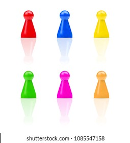 Vector set of colorful board game figures or team members isolated on white background