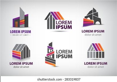 vector set of colorful buildings, houses logos, icons isolated. Editable