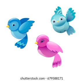 Vector set of colorful cartoon birds, cute birds vector illustration.