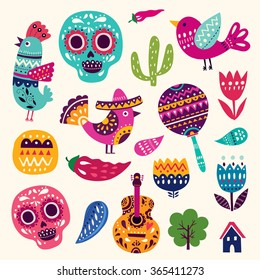 Vector set of colorful cartoon objects and icons about Mexico. Illustration with symbols of Mexico