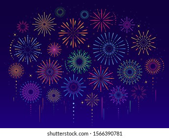 Vector set of colorful celebration festive fireworks for holiday, new year party, Xmas, birthday, carnival, Independence day. Firework show in dark evening sky. Pyrotechnics firecracker background