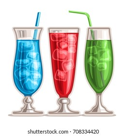 Vector set of colorful Cocktails: 3 tall glasses with alcohol cocktail blue hawaiian, drink strawberry mojito, fresh green mint mocktail with ice cubes, cold cocktail blue lagoon with curacao liquor.