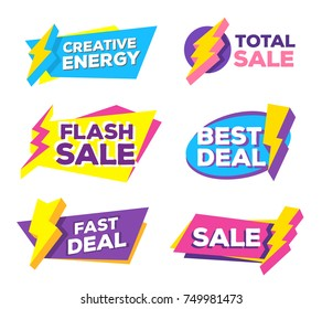 Vector set of colorful discount tag with lightning icon and text on white background. Collection of different bright special offer sale. Graphic design of discount offer price label. Flat style