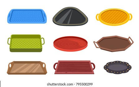 Vector set of colorful empty tray plastic metal wood different shapes for food