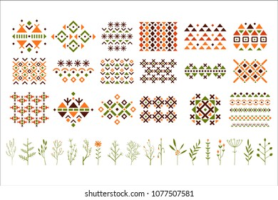 Vector set of colorful ethnic patterns, decorative herbs and flowers. Small twigs of plants. Elements for postcard, textile or invitation