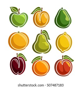 Vector Set colorful Fruits icons: apple, apricot, avocado, grapefruit, pear, lemon, plum, orange, peach, green leaf; collection set of abstract simple fruit logo or icon, isolated on white background.