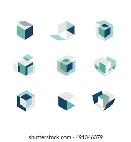 Vector set of colorful geometric 3d box or hexagon folded combinations for abstract logo of icons