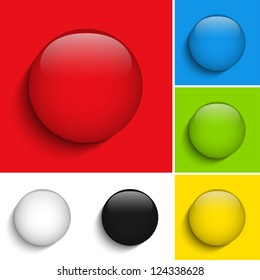 Vector - Set of Colorful Glass Circle Shiny Buttons