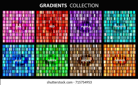 Vector set of colorful gradients.Collection of pink,red,purple,turquoise,blue,green,brown and orange backgrounds.