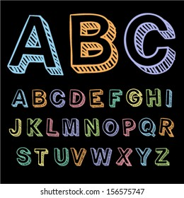 Vector set with colorful hand written ABC letters