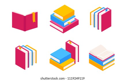 Vector Set of Colorful Horizontal and Vertical Stacks of Books in Isometric.Education Infographic Template Design with Books Pile.Set of Book Icons in Flat style isolated from white background