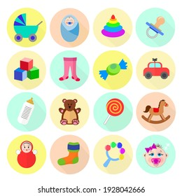 vector set of colorful colorful icons on the theme of kids