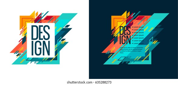 Vector set of colorful illustration. Abstract geometric background. Design idea concept for booklets, prezints, headings, flyers. Dynamic geometric graphics