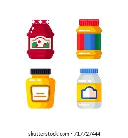 Vector set of the colorful jar and bottles with a different topping: mayonnaise, peanut butter, jam and mustard. Buy grocery in the supermarket. Vector flat design illustration.