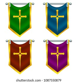 Vector set of colorful knight flags with sword suspended on the silver pole. Elements isolated on white background. Perfect for games or other design works