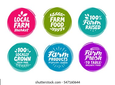 Vector set colorful labels for food, nutrition. Farm collection icons