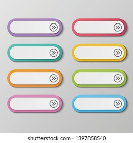 Vector set colorful long round buttons for wed design.