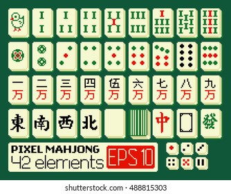 Vector set of colorful mahjong elements in pixel style: simple tiles, dragons, winds, empty tile, shirt and dice