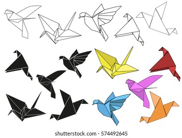 vector set of colorful paper cranes origami