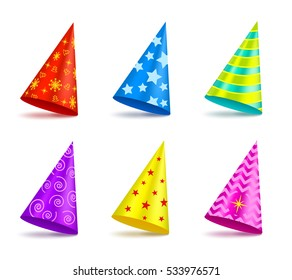 Vector set of colorful Party hat with decorations isolated on white