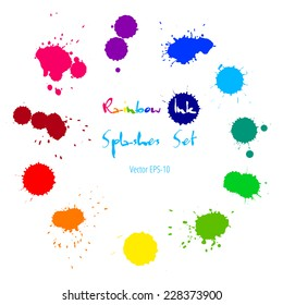 Vector set of colorful rainbow ink splashes isolated on white background.