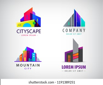 Vector set of colorful real estate logos, city and skyline icons, illustrations. Architect construction concepts