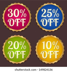 Vector set: Colorful Sale banners, labels (coupon, discount tag) template (layout) with gold frame (border). Bright design for sticker, web page ad, ticket etc. Corrugated background