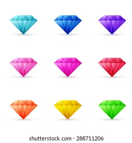 Vector set of colorful shiny jewels in different colors on the white background.