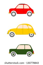 Vector. A set of colorful silhouettes of small retro European cars on a white background.