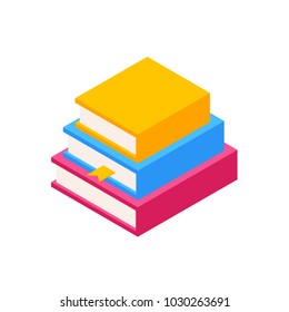 Vector Set of Colorful Stack of Books in Isometric.Education Infographic Template Design with Books Pile.Set of three Book Icons in Flat style isolated from white background