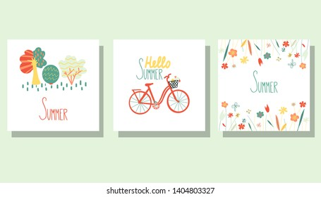 Vector set of colorful summer cards. Posters with bycicle, trees, flowers and hand written text. - Vector