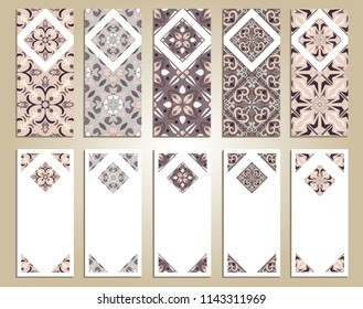 Vector set of colorful vertical banners for business and invitation. Portuguese, Azulejo, Moroccan; Arabic; asian ornaments. Geometric and floral motifs