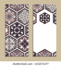 Vector set of colorful vertical banners for business and invitation. Portuguese, Spanish, Moroccan; Arabic; asian mosaic ornaments. Geometric and floral motifs