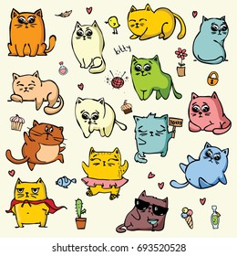 Vector set with colour doodle cute cats for greeting card design, t-shirt print, inspiration poster