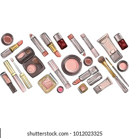 Vector set with colour make up items