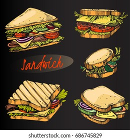 Vector set of colour sandwiches