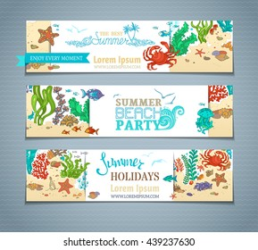 Vector set of colourful sea life horizontal banners. Various fish, starfish, crab, shell, jellyfish, seaweed, bottle with a letter and key on the bottom. There is place for your text on white paper.