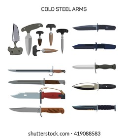 Vector set of combat knifes icons isolated on white background. Bonder knives, bayonet knife, swat knifes. Cold steel arms.