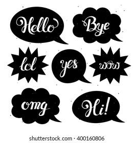 Slang images stock photos vectors shutterstock vector set of comic speech bubbles in trendy flat style hand drawn set of speech m4hsunfo Gallery
