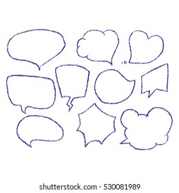 Vector set of comic speech bubbles. Hand drawn set of comic quotes balloons.